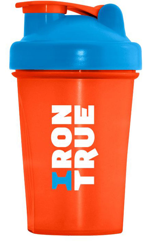 """Шейкер спортивный """"Irontrue"""", цвет: оранжевый, голубой, 400 мл"""