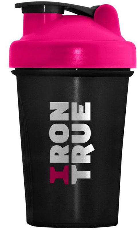 """Шейкер спортивный """"Irontrue"""", цвет: белый, розовый, черный, 400 мл"""