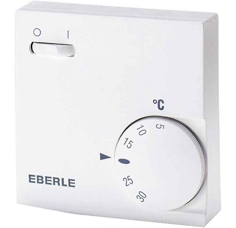 Eberle 6163 термостатRTR-E 6163Для создания, поддержания комфортной температуры в помещении и экономии расхода электроэнергии применяют устройства автоматического регулирования. Eberle 6163 немецкий терморегулятор, который успешно справляется с поставленными задачами. При использовании регулятора температуры с электрическими системами отопления удается максимально сократить перерасход электроэнергии. Особую популярность и распространение регулятор температуры Eberle 6163 получил при работе с потолочными инфракрасными обогревателями. Потребители полюбили эту модель за надежную и безотказную многолетнюю работу. Он имеет современный дизайн и компактные размеры. Терморегулятор механического типа одинаково хорошо работает как при положительных, так и при отрицательных температурах воздуха и имеет шкалу регулирования температуры от + 5 до + 30 °С. Мощность: возможно подключить до 3500 Вт Рекомендуем!
