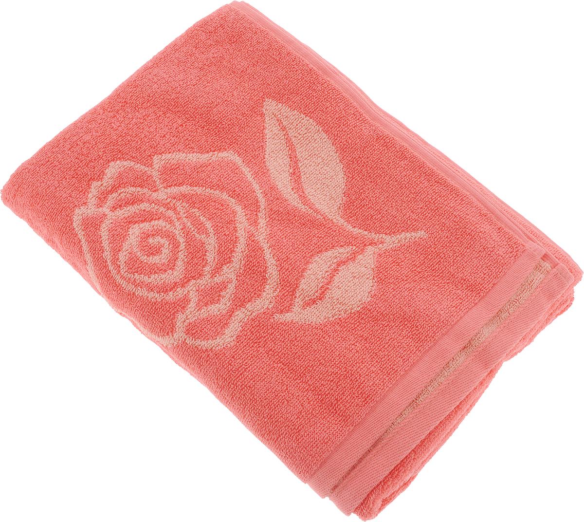 Полотенце банное Aquarelle Розы 1, цвет: розово-персиковый, коралловый, 70 х 140 см полотенце aquarelle розы 1 цвет розово персиковый коралловый 35 х 70 см