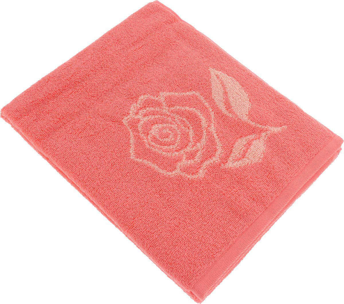 Полотенце банное Aquarelle Розы 1, цвет: розово-персиковый, коралловый, 50 х 90 см полотенце aquarelle розы 3 цвет розовый орхидея 50 х 90 см