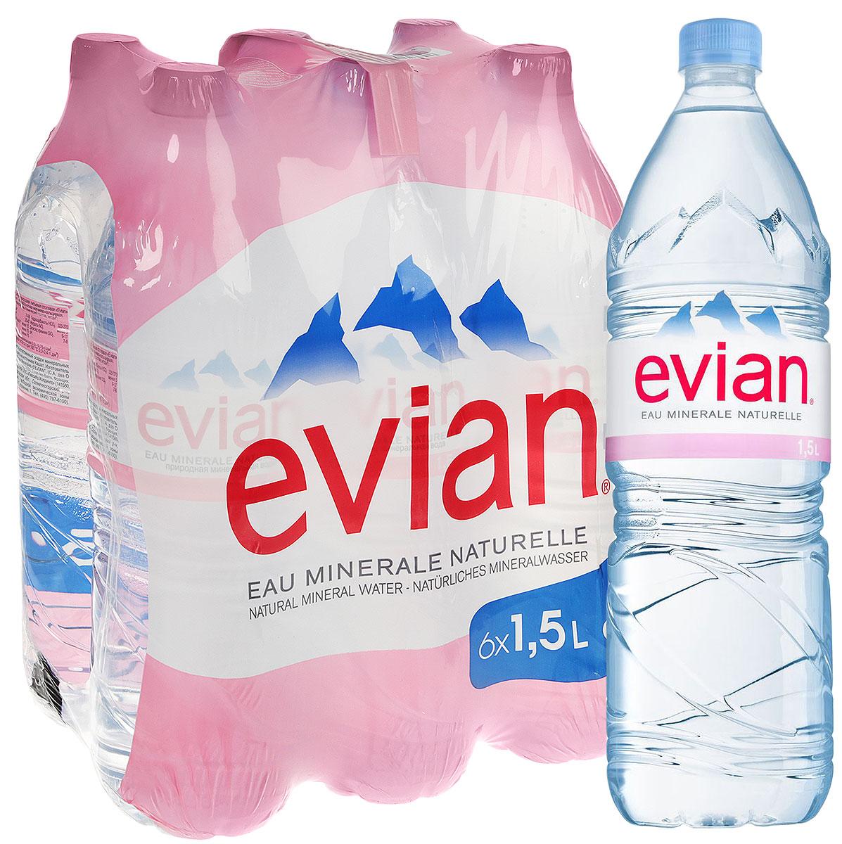 Evian вода минеральная природная столовая негазированная, 6 шт по 1,5 л