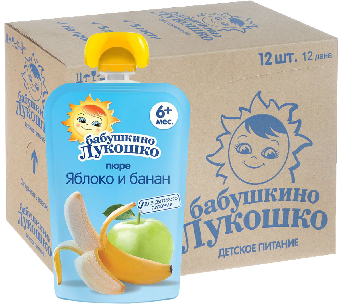 Бабушкино Лукошко Яблоко Банан пюре с 6 месяцев, 12 шт по 90 г бабушкино лукошко тыква пюре с 5 месяцев 100 г 6 шт