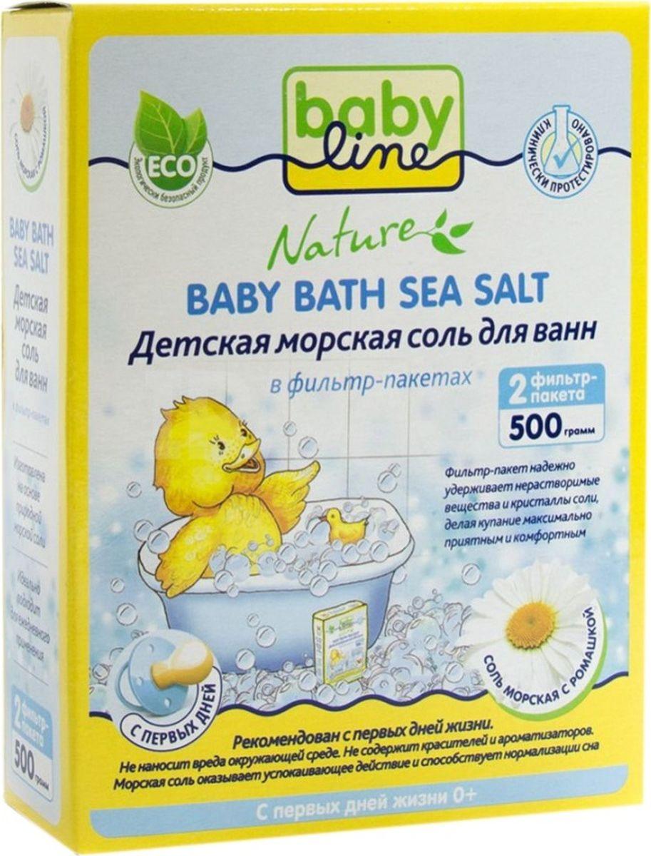 BabyLine Nature Детская морская соль для ванн с ромашкой 500 г