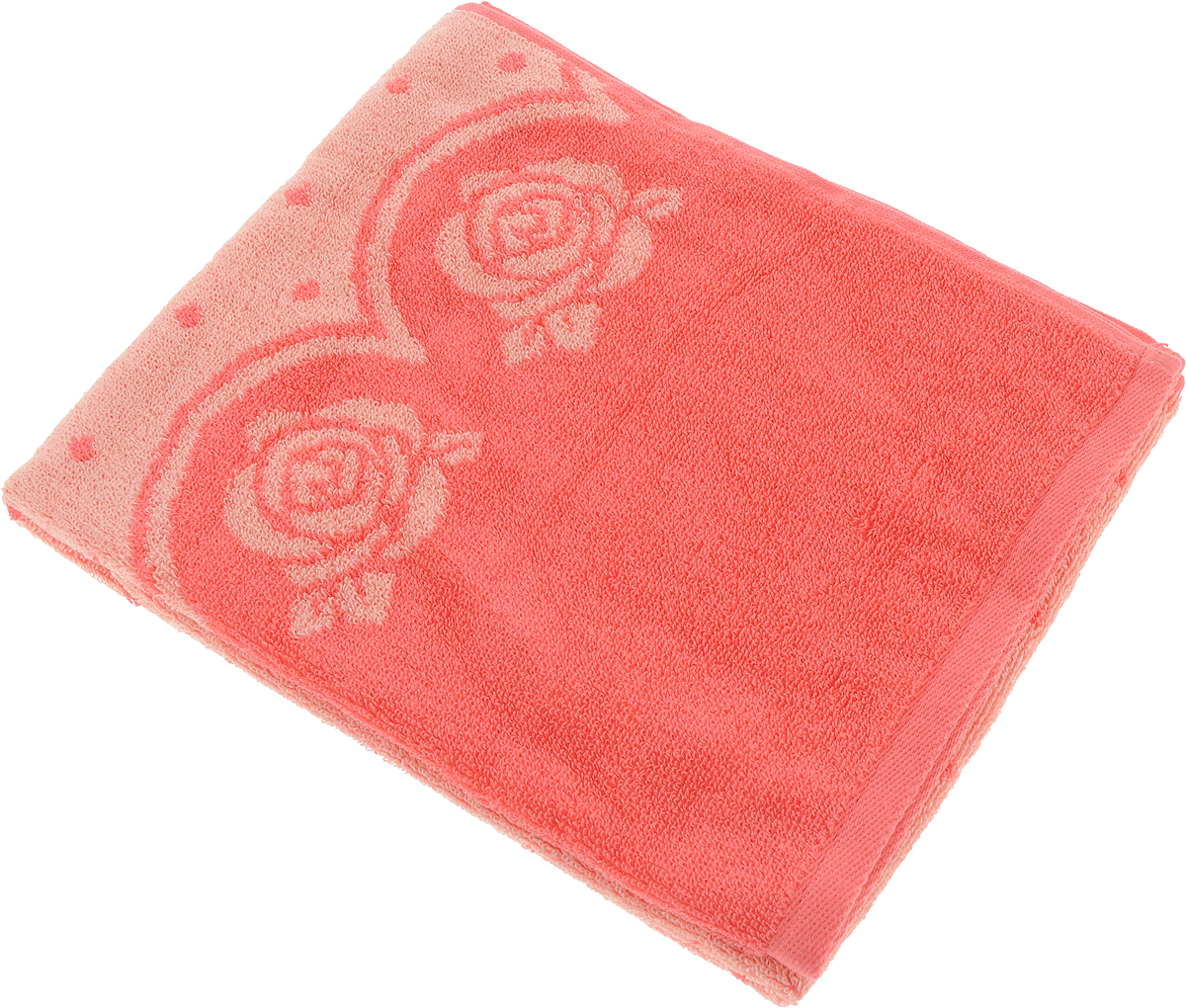 Полотенце Aquarelle Розы 3, цвет: розово-персиковый, коралловый, 50 х 90 см полотенце aquarelle стамбул 70x140cm white blue 710397