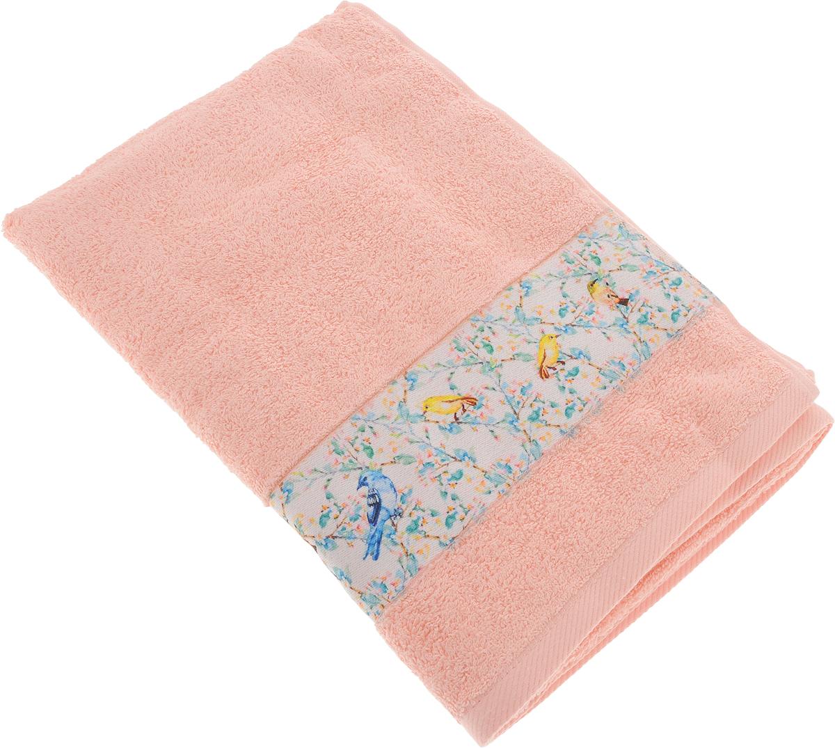 Полотенце Aquarelle Фотобордюр. Цветы 5, цвет: розово-персиковый, 70 х 140 см полотенце махровое aquarelle волна цвет ваниль 70 x 140 см