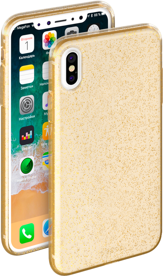 Deppa Chic Case чехол для Apple iPhone X, Gold celly gelskin чехол для apple iphone 5 5s se clear