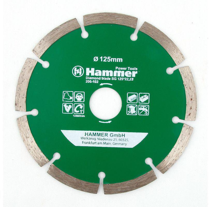 Диск алмазный Hammer Flex 206-102, сегментный, диаметр 125 мм30686Сегментный отрезной алмазный диск Hammer Flex 206-102 предназначен для всех видов бетона, мрамора, кровельных материалов, шлакобетона, керамической плитки. Он легко режет при использовании с угловой шлифовальной машиной и универсален при работе на строительных площадках. Диск обладает длительным рабочим ресурсом, высокими надежностью и скоростью резки.