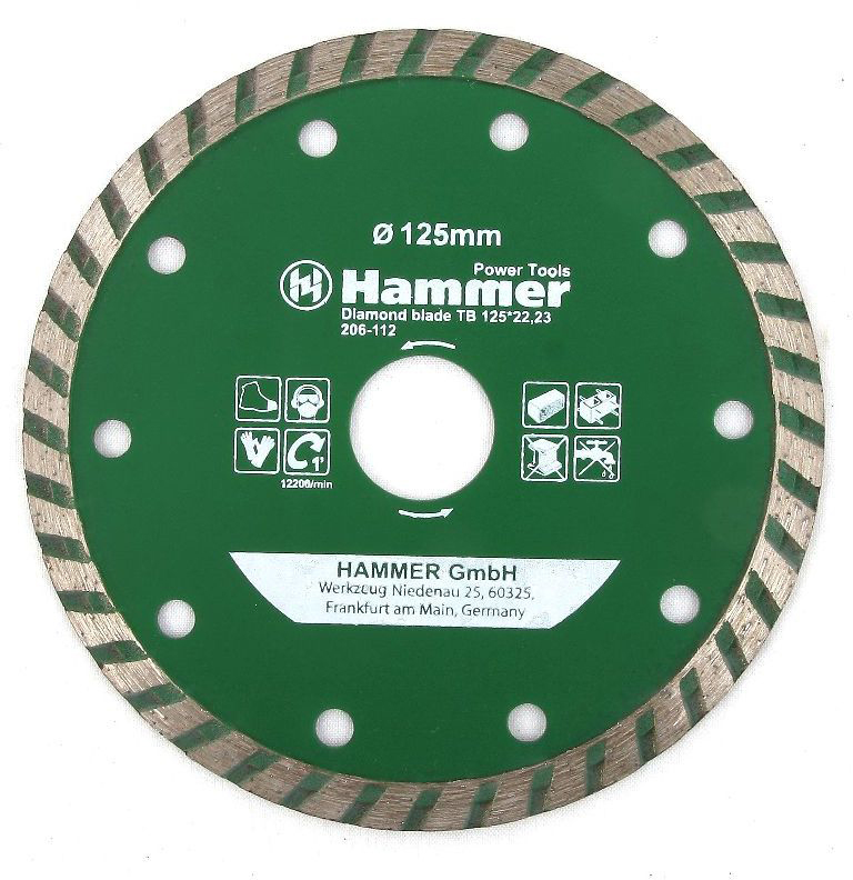 Диск алмазный Hammer, диаметр 125 мм цена