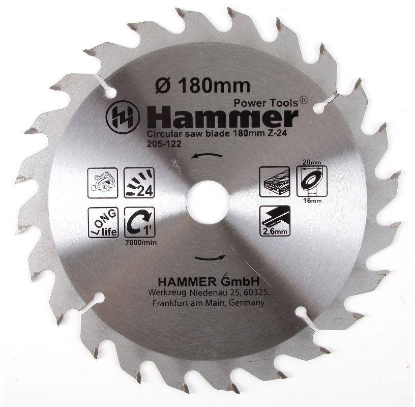 Диск пильный по дереву Hammer Flex 205-122 CSB WD, 180 х 20/16 мм, 24 зубья