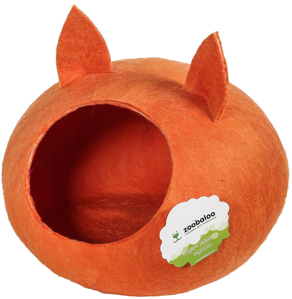 Домик-слипер для животных Zoobaloo WoolPetHouse, с ушками, цвет: оранжевый, размер M домик слипер для животных zoobaloo woolpethouse с ушками цвет синий размер l