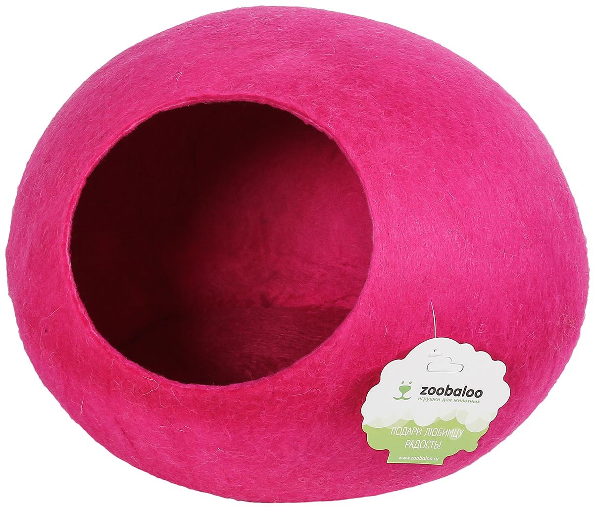 Домик-слипер для животных Zoobaloo WoolPetHouse, цвет: малиновый, размер M домик слипер для животных zoobaloo woolpethouse с ушками цвет синий размер l