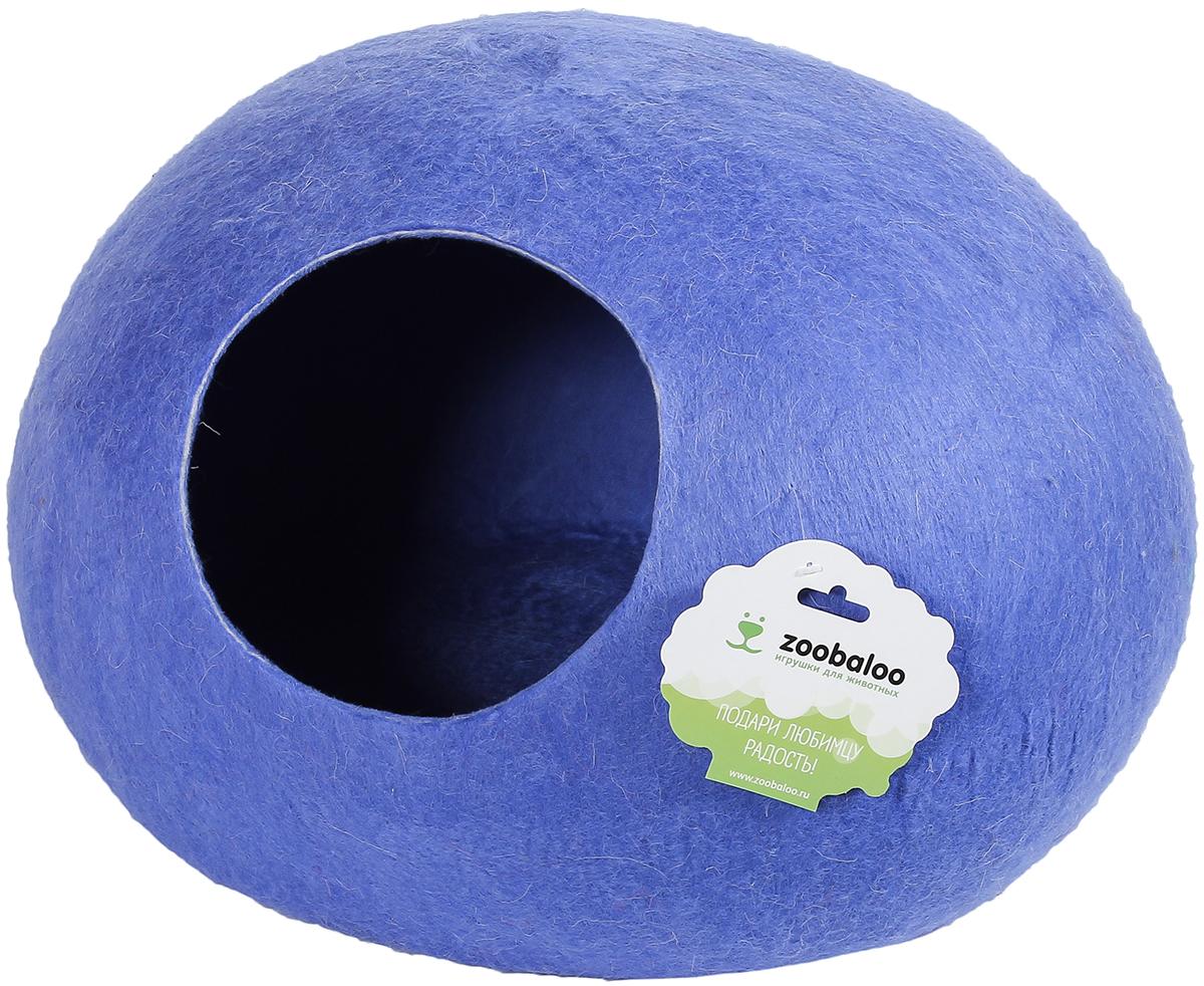 Домик-слипер для животных Zoobaloo WoolPetHouse, цвет: синий, размер L домик слипер для животных zoobaloo woolpethouse с ушками цвет синий размер l