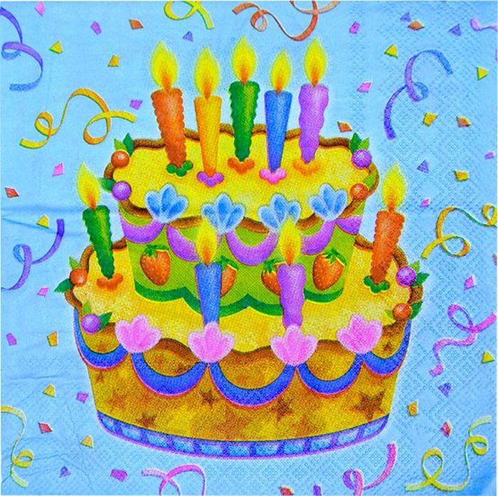 Пати Бум Салфетки Праздничный торт 20 шт карнавальные очки праздничный торт цвет желтый