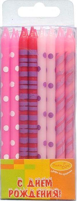 Пати Бум Набор свечей для торта С Днем рождения! цвет розовый 12 см 16 шт пати бум столовые приборы цвет синий 18 шт