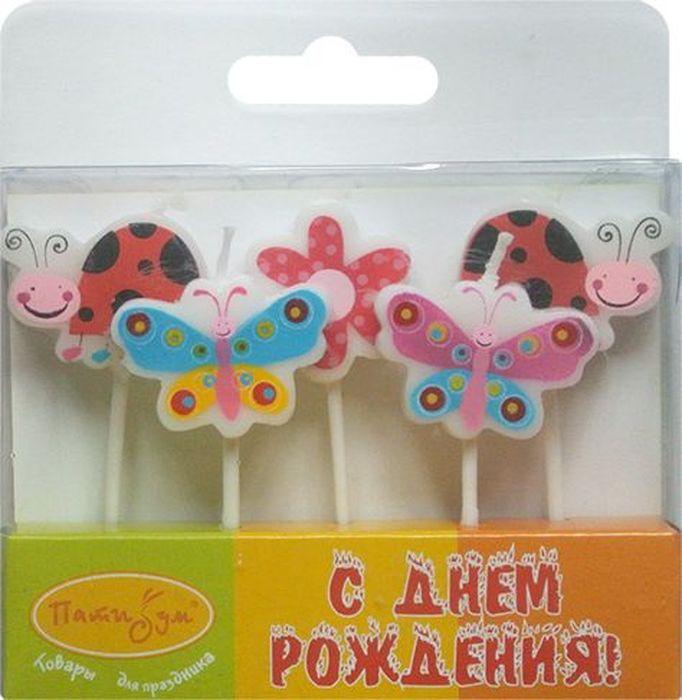 Пати Бум Набор свечей для торта Бабочки и Божьи коровки 7 см 5 шт
