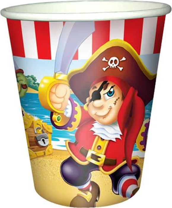 Пати Бум Набор стаканов Веселый Пират 200 мл 6 шт пати бум набор трубочек веселый пират цвет синий 6 шт
