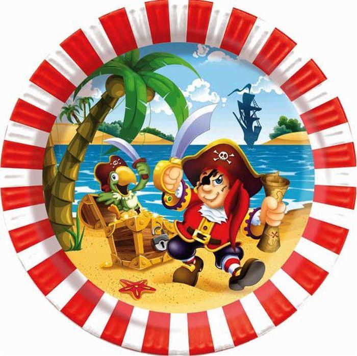 Пати Бум Набор тарелок Веселый Пират 6 шт пати бум набор трубочек веселый пират цвет синий 6 шт