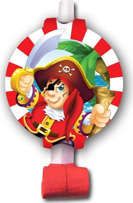 Пати Бум Язык-гудок с карточкой Веселый Пират 6 шт пати бум набор трубочек веселый пират цвет синий 6 шт