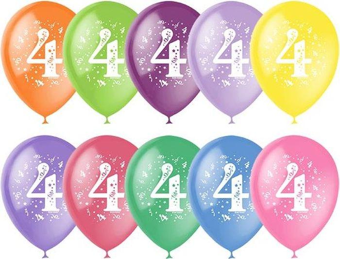 Шарик воздушный Пастель Декоратор Цифра Четыре 10 шт шарик воздушный декоратор transparent 057 100 шт
