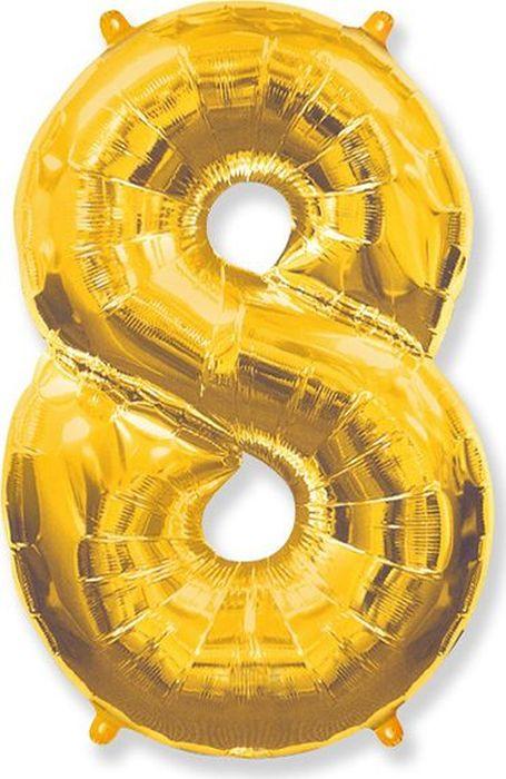 Флексметал Шар воздушный Цифра 8 цвет золото воздушный шар sam baloes 2 0154