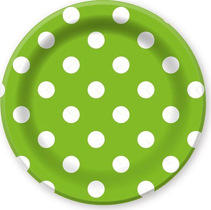 Пати Бум Набор тарелок Горошек цвет зеленый 6 шт пати бум столовые приборы цвет синий 18 шт