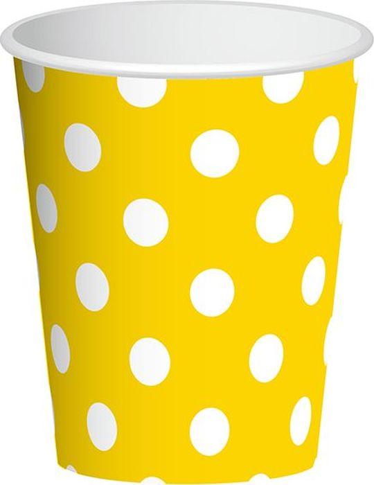 Пати Бум Набор стаканов Горошек цвет желтый 250 мл 6 шт пати бум столовые приборы цвет синий 18 шт