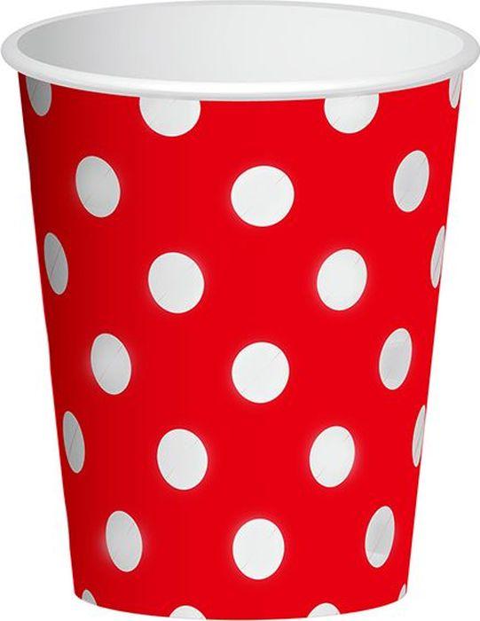 Пати Бум Набор стаканов Горошек цвет красный 250 мл 6 шт пати бум набор трубочек веселый пират цвет синий 6 шт