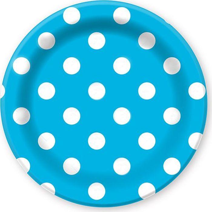 Пати Бум Тарелка бумажная Горошек цвет голубой 6 шт