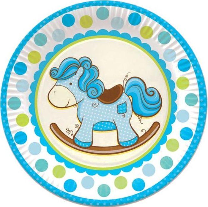 Пати Бум Тарелка Лошадка цвет голубой 23 см 6 шт