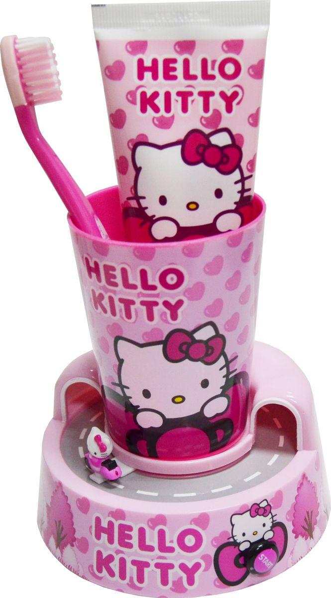 Hello Kitty Набор детский: подставка-таймер с игрушкой + стакан + зубная щетка + зубная паста 75 мл