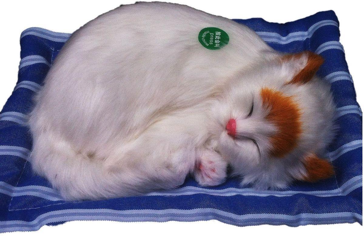 Фото - Vebtoy Фигурка Спящий котенок на коврике со звуком Мяу цвет белый vebtoy фигурка спящий котенок на коврике со звуком мяу цвет черно белый