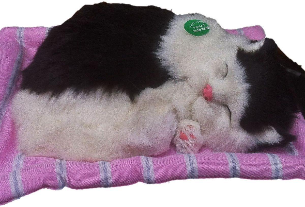 Фото - Vebtoy Фигурка Спящий котенок на коврике со звуком Мяу цвет черно-белый vebtoy фигурка спящий котенок на коврике со звуком мяу цвет черно белый