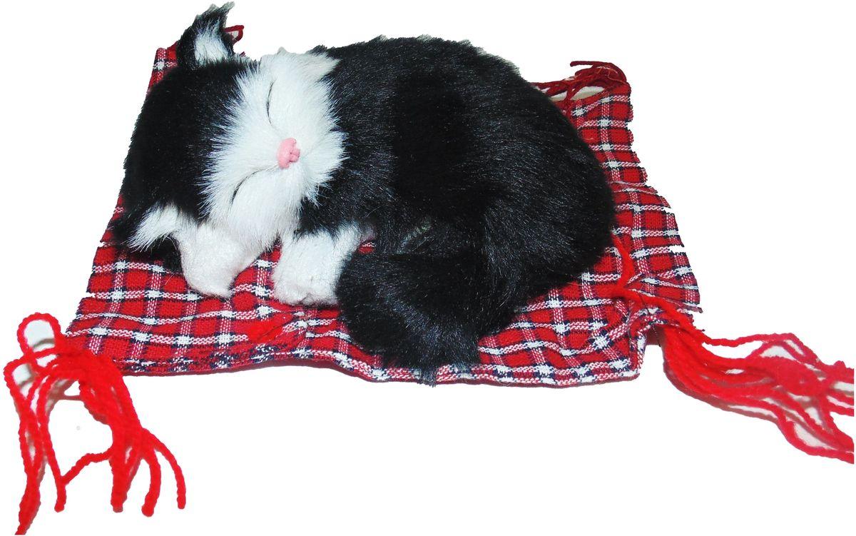 Фото - Vebtoy Фигурка Котенок на коврике цвет черный vebtoy фигурка спящий котенок на коврике со звуком мяу цвет черно белый