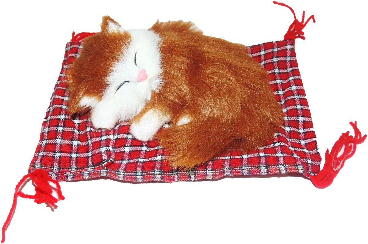 Фото - Vebtoy Фигурка Котенок на коврике цвет рыжий vebtoy фигурка спящий котенок на коврике со звуком мяу цвет черно белый