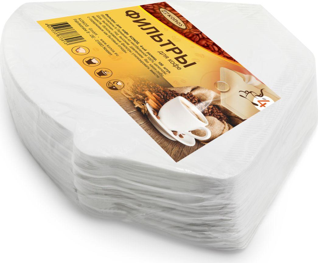 Кonos фильтр бумажный для кофеварок №4, 100 шт (Folie) фильтры для кофе filtero 2 для кофеварок капельного типа бумажные 40 шт белый [ 2 40]
