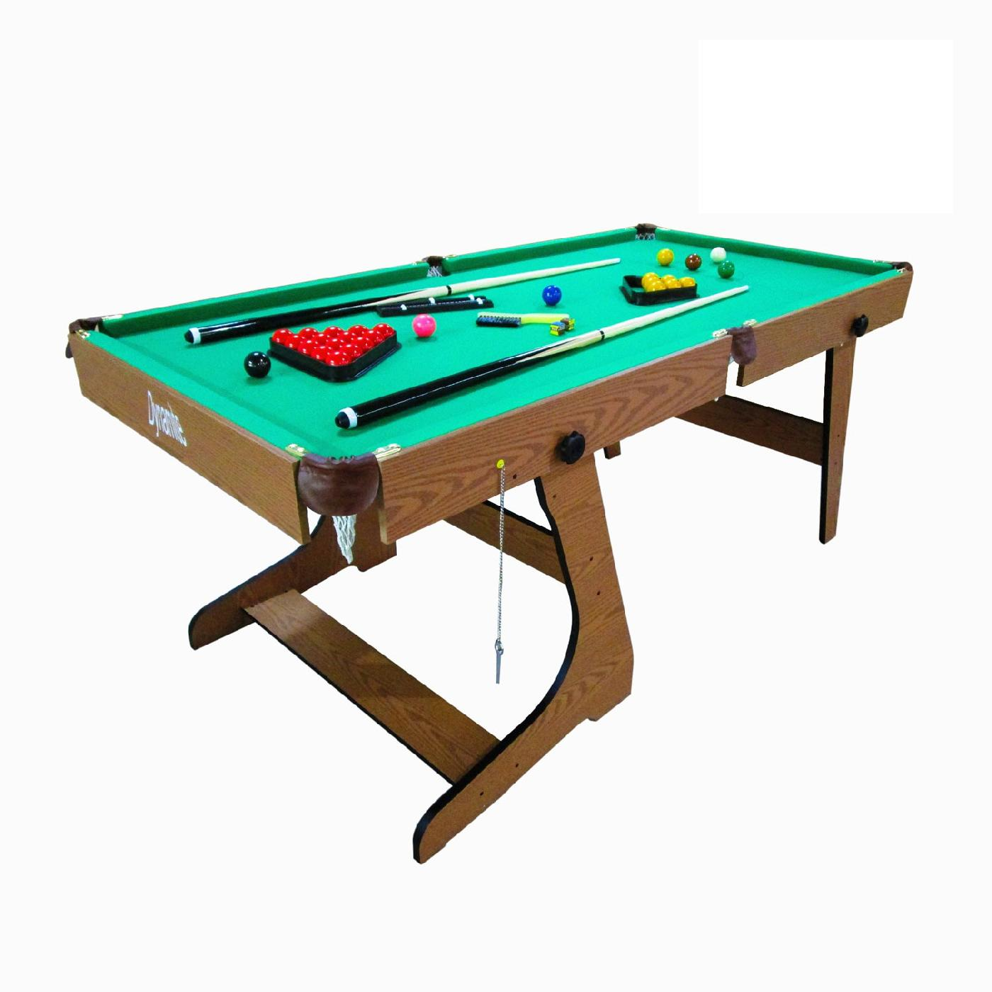 Бильярдный стол Dfc1485414854Настольные игры являются отличным развлечением дома или на даче. Игровой стол будет не только отличной покупкой для себя, но и прекрасным подарком. Складной домашний стол для игры в пул. Размер стола 6 футов. Корпус выполнен из специально обработанного МДФ, сверху покрытого ПВХ-пленкой. Игровое поле выполнено из бархата, углы из пластика с кожей. В комплекте все необходимые акссесуары: 2 кия, набор шаров, треугольник, щетка, 2 мела. Размер стола183,3 х 92 х 78,7 см Размер игрового поля6 футов / 174 х 88 см Диаметр шара44,45 мм Длина кия122 см Размер упаковки190 х 98 х 14 см Вес40 / 46 кг БрендDFC Страна производстваКитай Гарантия12 месяцев