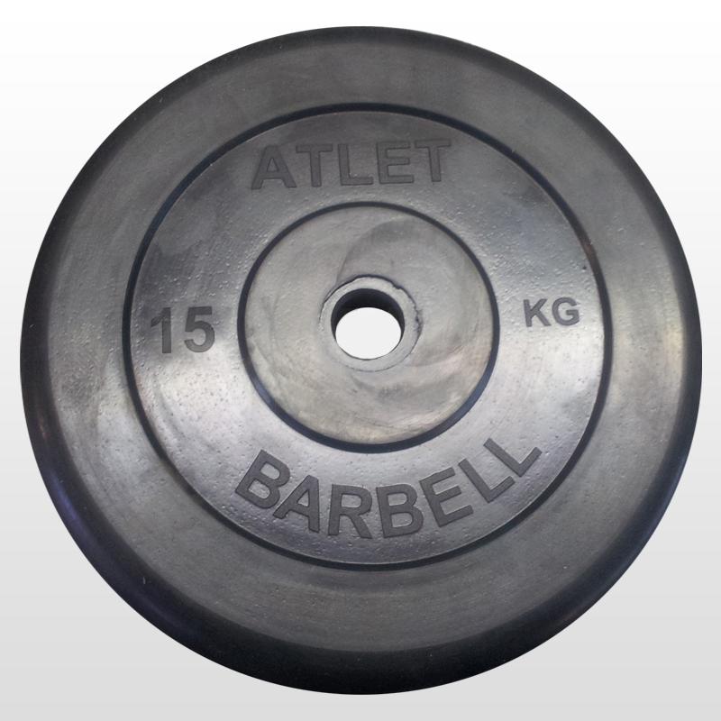 цена на Диск обрезиненный MB Barbell Atlet 31 мм, черный 15 кг