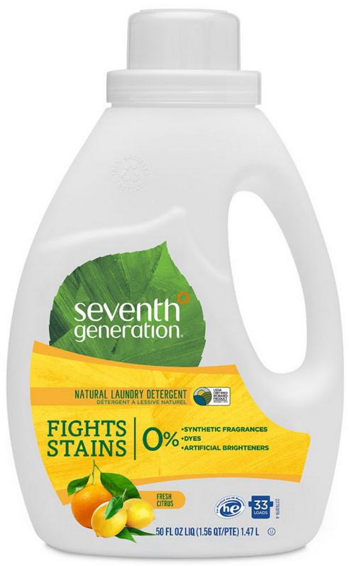 """Гель для стирки """"Seventh Generation"""", 2-х кратной концентрации, свежий цитрусовый бриз 1,47 л"""