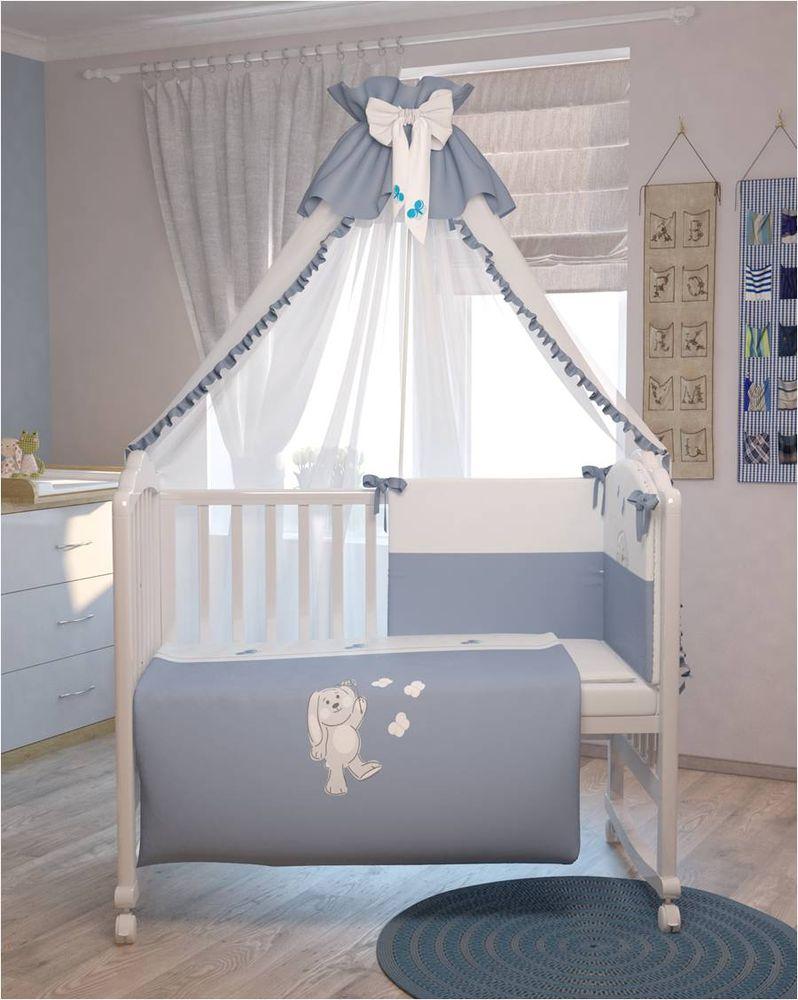 Polini Комплект белья для новорожденных Зайки цвет голубой 7 предметов polini комплект белья для новорожденных монстрики 7 предметов 1216