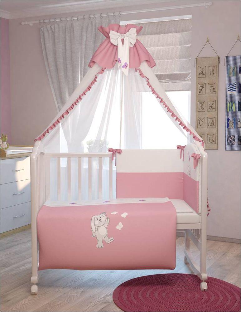 Polini Комплект белья для новорожденных Зайки цвет розовый 7 предметов polini комплект белья для новорожденных монстрики 7 предметов 1216