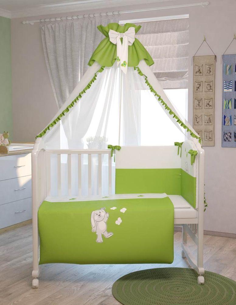 Polini Комплект белья для новорожденных Зайки цвет зеленый 7 предметов polini комплект белья для новорожденных монстрики 7 предметов 1216