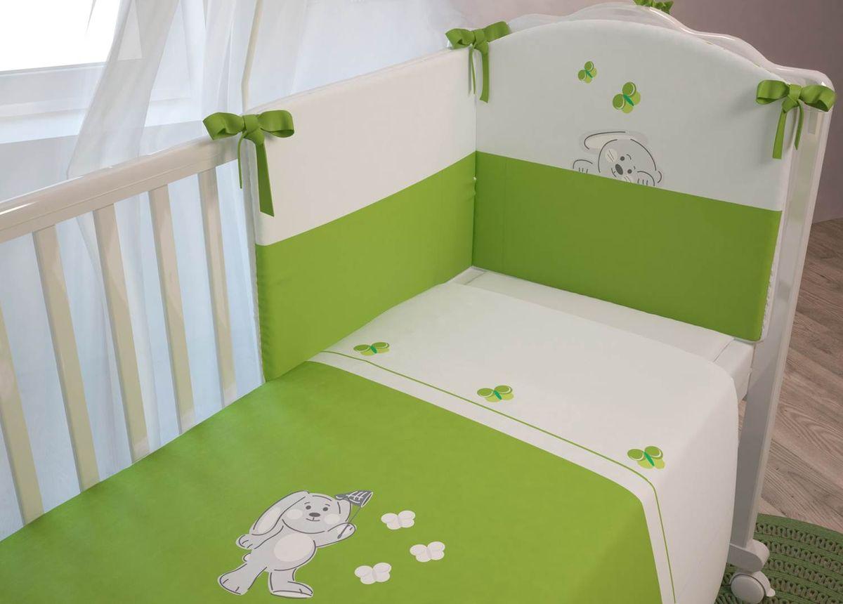 Polini Комплект белья для новорожденных Зайки цвет зеленый 3 предмета цена