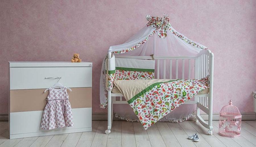Polini Комплект белья для новорожденных Кантри цвет зеленый 7 предметов polini комплект белья для новорожденных монстрики 7 предметов 1216