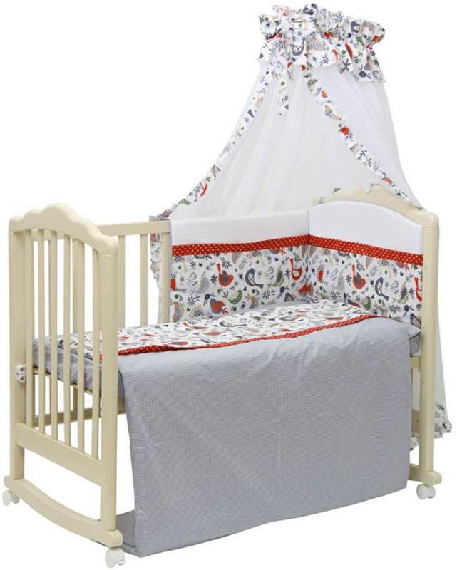 Polini Комплект белья для новорожденных Кантри цвет красный 7 предметов polini комплект белья для новорожденных монстрики 7 предметов 1216