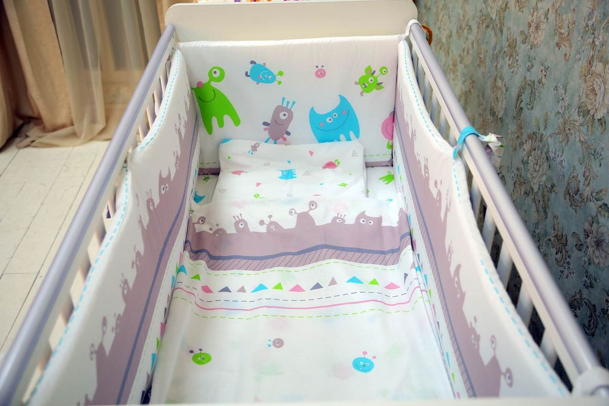 Polini Комплект белья для новорожденных Монстрики 7 предметов 1407 комплект в кроватку polini 0001201 1 голубой