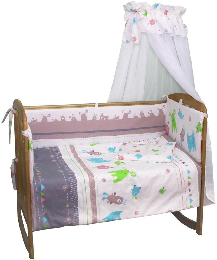 Polini Комплект белья для новорожденных Монстрики 7 предметов 1216 комплект в кроватку polini 0001201 1 голубой