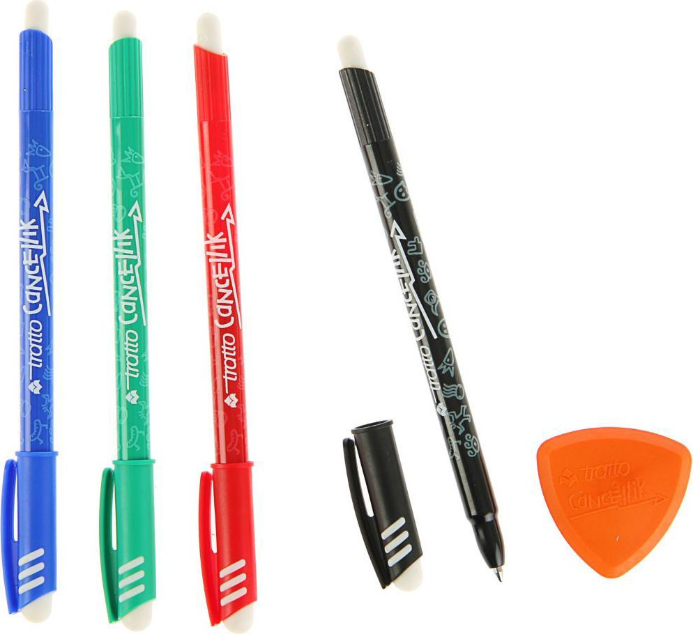 Tratto Ручка шариковая Ftratto Cancellik с ластиком 4 шт набор ручка шариковая брелок и визитница цвет синий 3 предмета в наборе 2