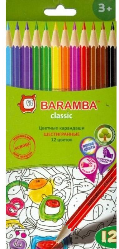 Набор цветных карандашей Baramba Stripe, с точилкой, 12 цветов карандаши цветные baramba шестигранные 12 цветов