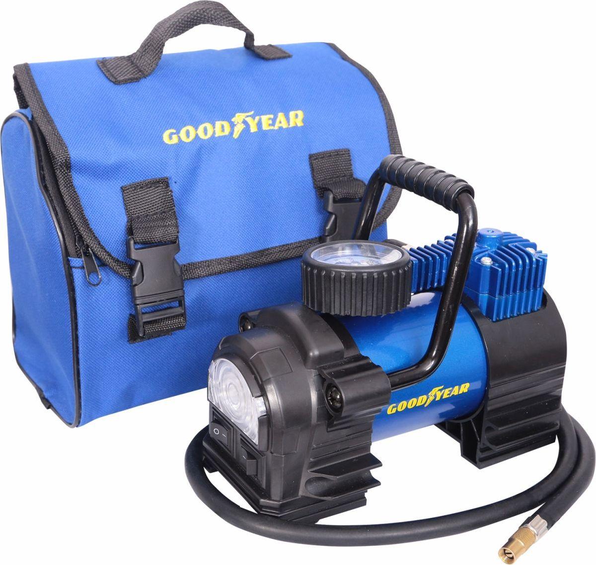 Компрессор автомобильный Goodyear, с фонарем и со съемной ручкой, 35 л/мин автомобильный компрессор autoluxe компрессор с фонарем мистраль серый черно серый